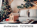 homemade gingerbread house on... | Shutterstock . vector #717375058