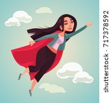 super woman character flying.... | Shutterstock .eps vector #717378592