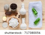 flat lay view of coffee powder...   Shutterstock . vector #717380056