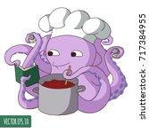 octopus cook | Shutterstock .eps vector #717384955