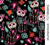 Stock vector vector seamless pattern for day of the dead and halloween with cats and colorful decorative flowers 717386842