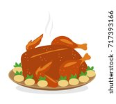 roasted chicken with potatoes | Shutterstock .eps vector #717393166