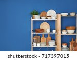 Kitchen Shelving With Dishes On ...