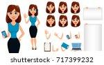 business woman cartoon... | Shutterstock .eps vector #717399232