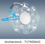 floating digital blue... | Shutterstock . vector #717400642