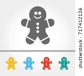 gingerbread man single icon... | Shutterstock .eps vector #717412126