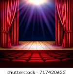 a theater stage with a red... | Shutterstock . vector #717420622