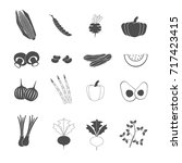 vegetable icons set vector | Shutterstock .eps vector #717423415