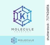 molecule initial letter k logo... | Shutterstock .eps vector #717426856