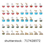 big collection of cooking... | Shutterstock .eps vector #717428572