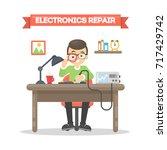 electronics repair man sitting... | Shutterstock .eps vector #717429742