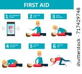 first aid banner. checking and... | Shutterstock .eps vector #717429748