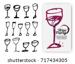 set of hand drawn drink cups.... | Shutterstock .eps vector #717434305