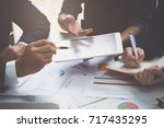 group of business people busy... | Shutterstock . vector #717435295
