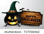 cartoon halloween witchs... | Shutterstock .eps vector #717436462