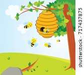 busy bees flying around a... | Shutterstock .eps vector #717437875
