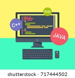computer with code on the... | Shutterstock .eps vector #717444502
