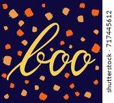 boo modern inscription on... | Shutterstock .eps vector #717445612