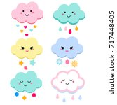cute clouds vector illustration ... | Shutterstock .eps vector #717448405