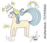 unicorn hand drawn sketch with... | Shutterstock .eps vector #717455662