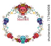 day of the dead skull frame ... | Shutterstock .eps vector #717464008
