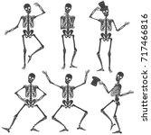 dancing skeletons. different... | Shutterstock .eps vector #717466816