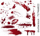 set of various blood or paint... | Shutterstock .eps vector #717466822