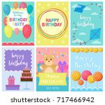 happy birthday collection set... | Shutterstock .eps vector #717466942