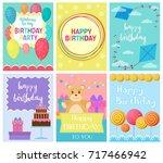 happy birthday collection set... | Shutterstock .eps vector #717466942