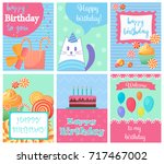 happy birthday collection set... | Shutterstock .eps vector #717467002