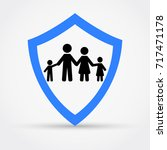 shield and family  safety... | Shutterstock .eps vector #717471178