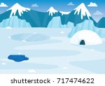 vector illustration of snowy... | Shutterstock .eps vector #717474622