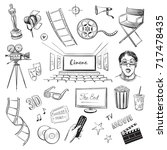 a collection of vector sketches ... | Shutterstock .eps vector #717478435