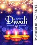 happy diwali. traditional... | Shutterstock .eps vector #717478768