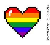 vector rainbow 8 bit pixel art... | Shutterstock .eps vector #717480262