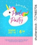 pool party invitation vector... | Shutterstock .eps vector #717480706