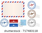 set of postal elements  ... | Shutterstock .eps vector #717483118