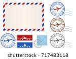 set of postal elements  ... | Shutterstock .eps vector #717483118