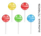 vector set of colorful lollipop ... | Shutterstock .eps vector #717484336