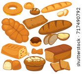 bread icons set for bakery shop ... | Shutterstock .eps vector #717490792