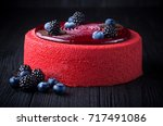 delicious pink cake with... | Shutterstock . vector #717491086