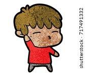 cartoon curious boy   Shutterstock .eps vector #717491332