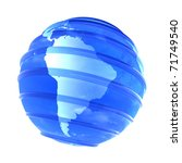 Blue glassy transparent planet Earth with lines parallel. 3D object focused in South America on white background. - stock photo