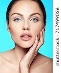 glamor closeup beauty portrait...   Shutterstock . vector #717499036