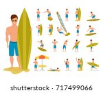 character person surfer man.... | Shutterstock . vector #717499066