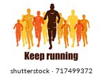 running marathon  people run ... | Shutterstock .eps vector #717499372