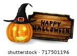 scary jack o lantern halloween... | Shutterstock .eps vector #717501196