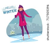 woman ice skating | Shutterstock .eps vector #717505396