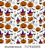 halloween seamless pattern... | Shutterstock .eps vector #717510355