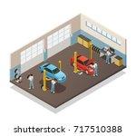 car repair maintenance... | Shutterstock .eps vector #717510388
